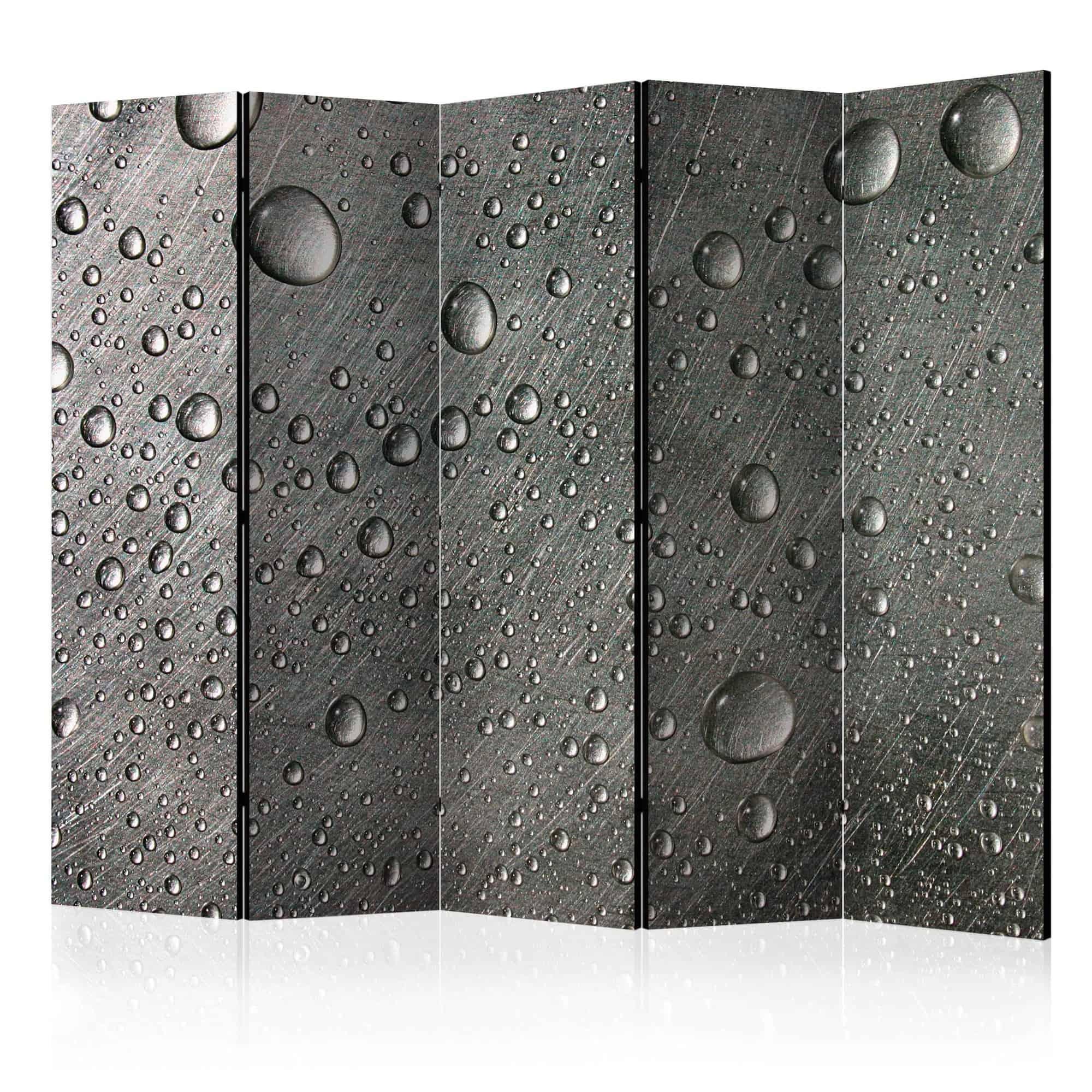 Skærmvæg Steel surface with water drops II