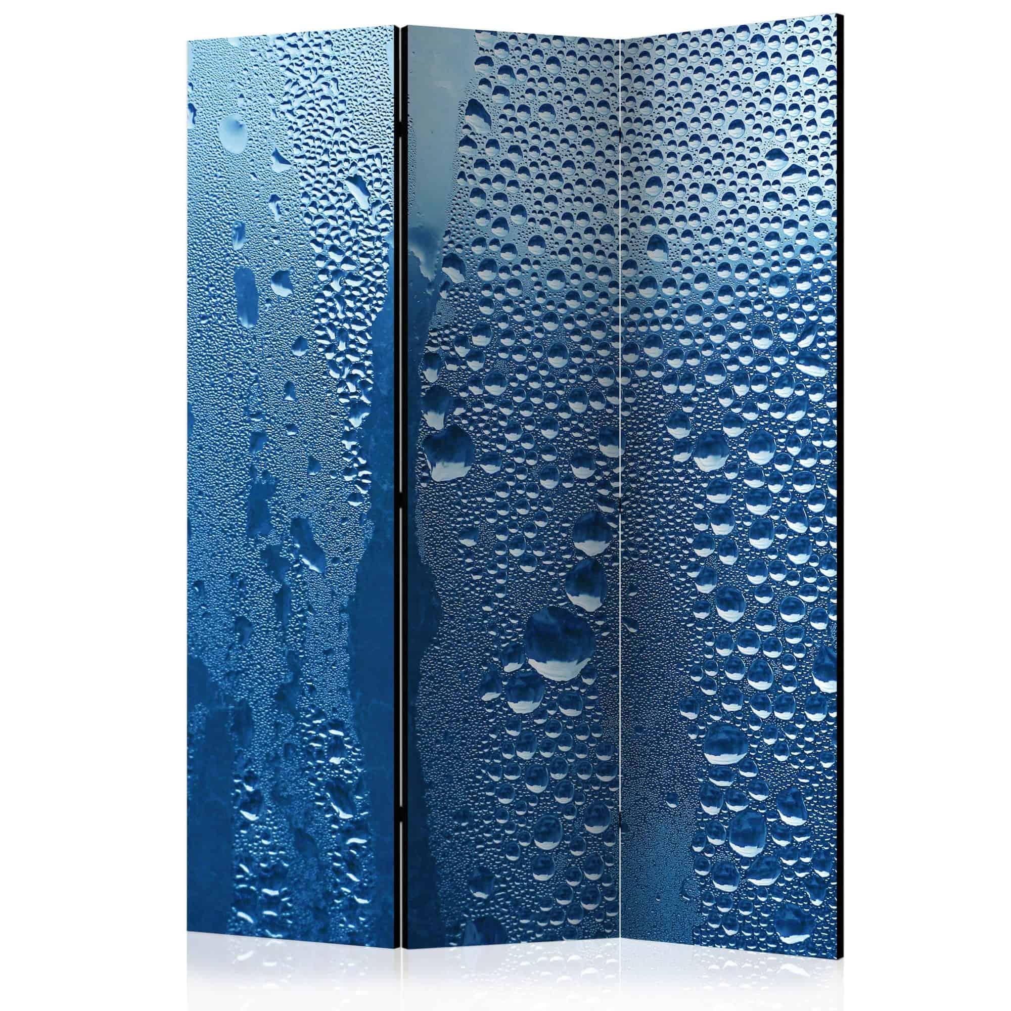 Skærmvæg Water drops on blue glass