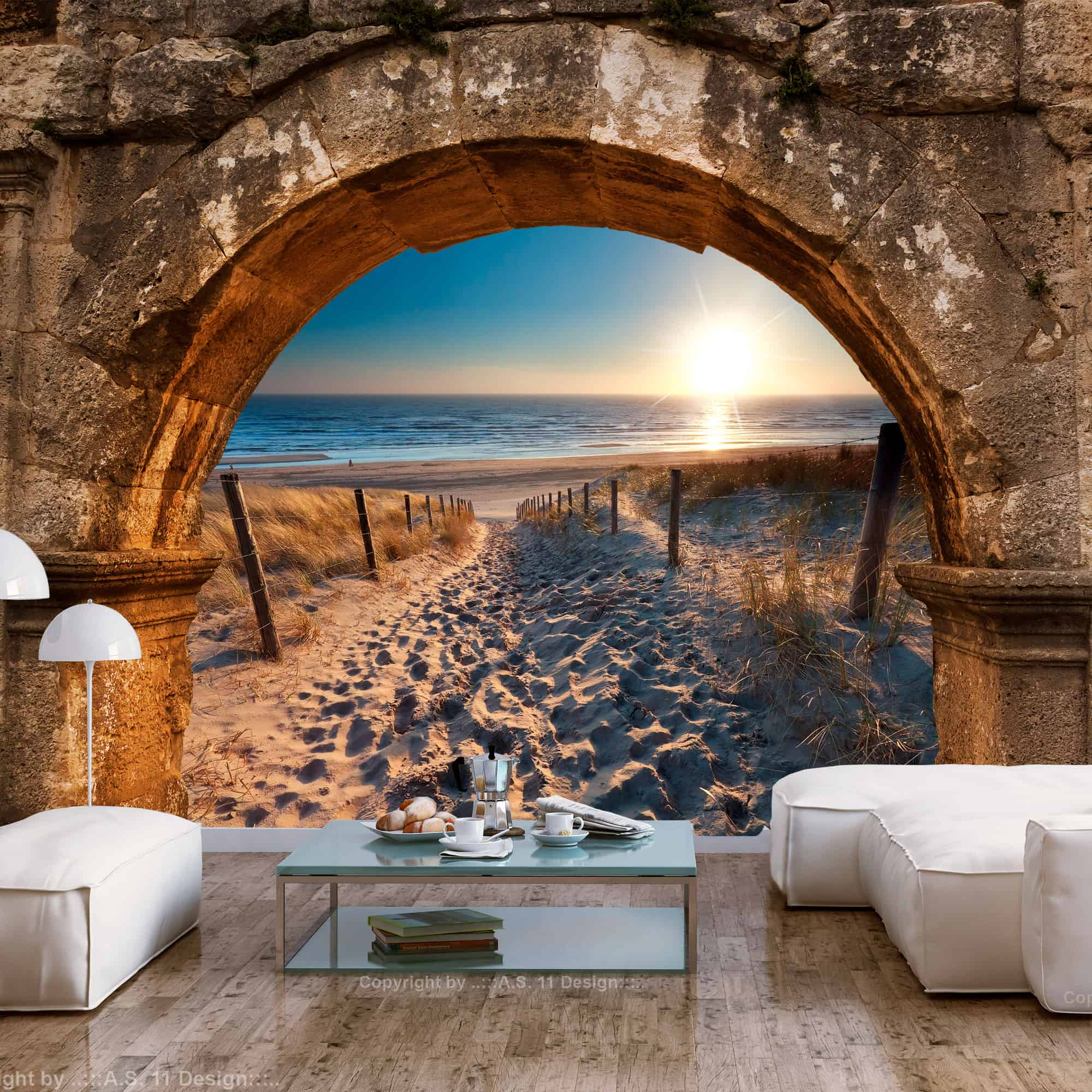 Fototapet Arch and Beach