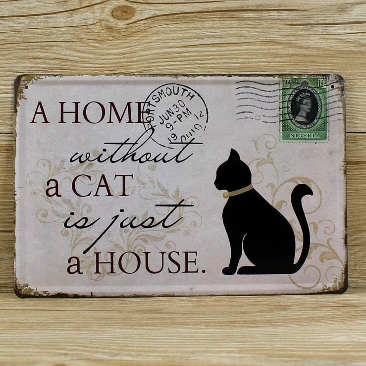 Image of   Emaljeskilt A home without a cat