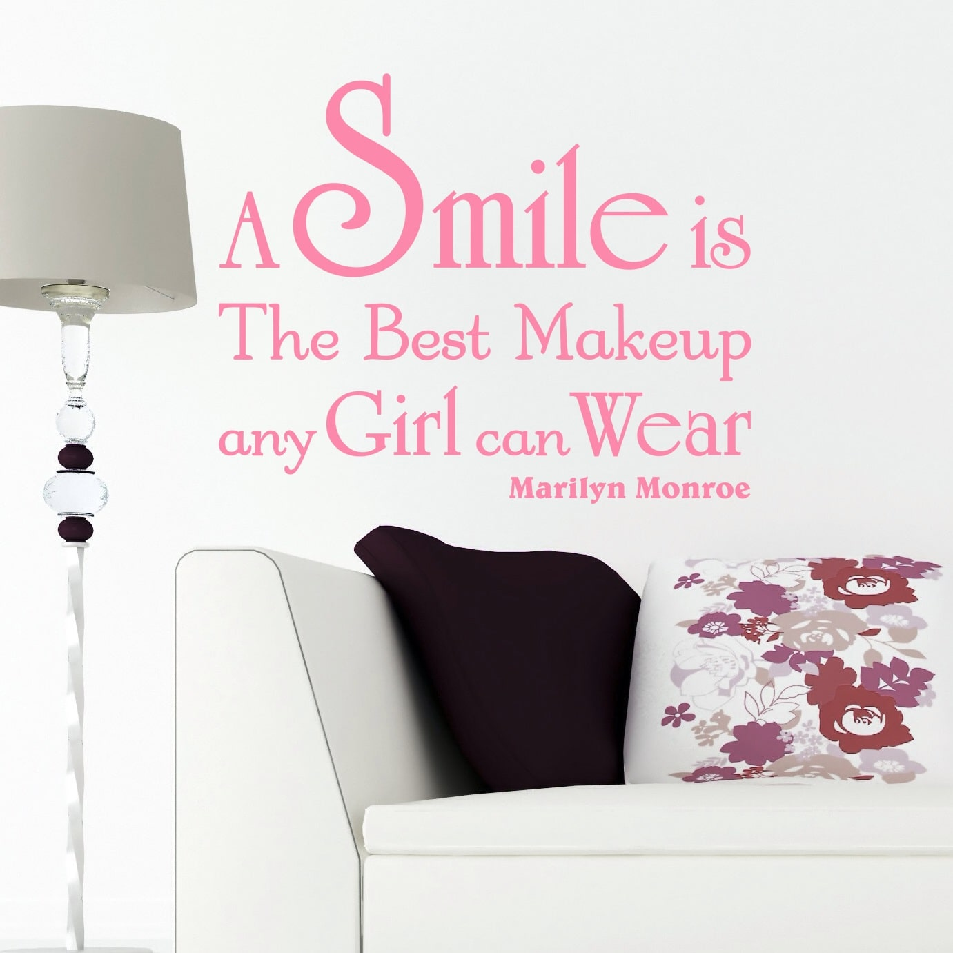 citater om at smile A smile is the best makeup   Wallstickers citater fra NiceWall.dk citater om at smile