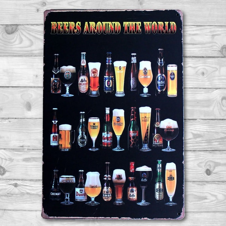 Image of   Emaljeskilt Beers around the World