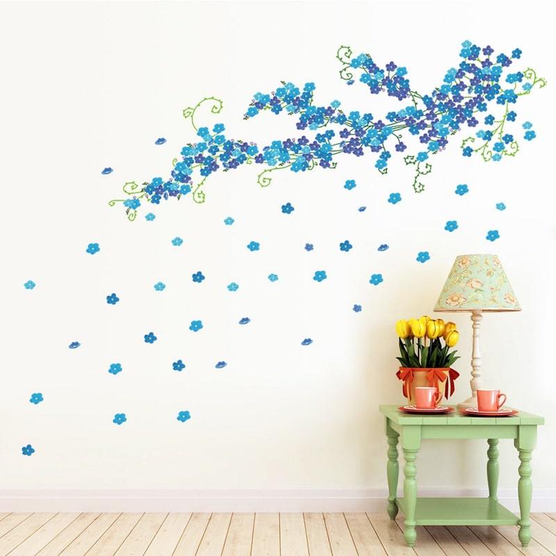 Wallsticker Gren med blå Blomster