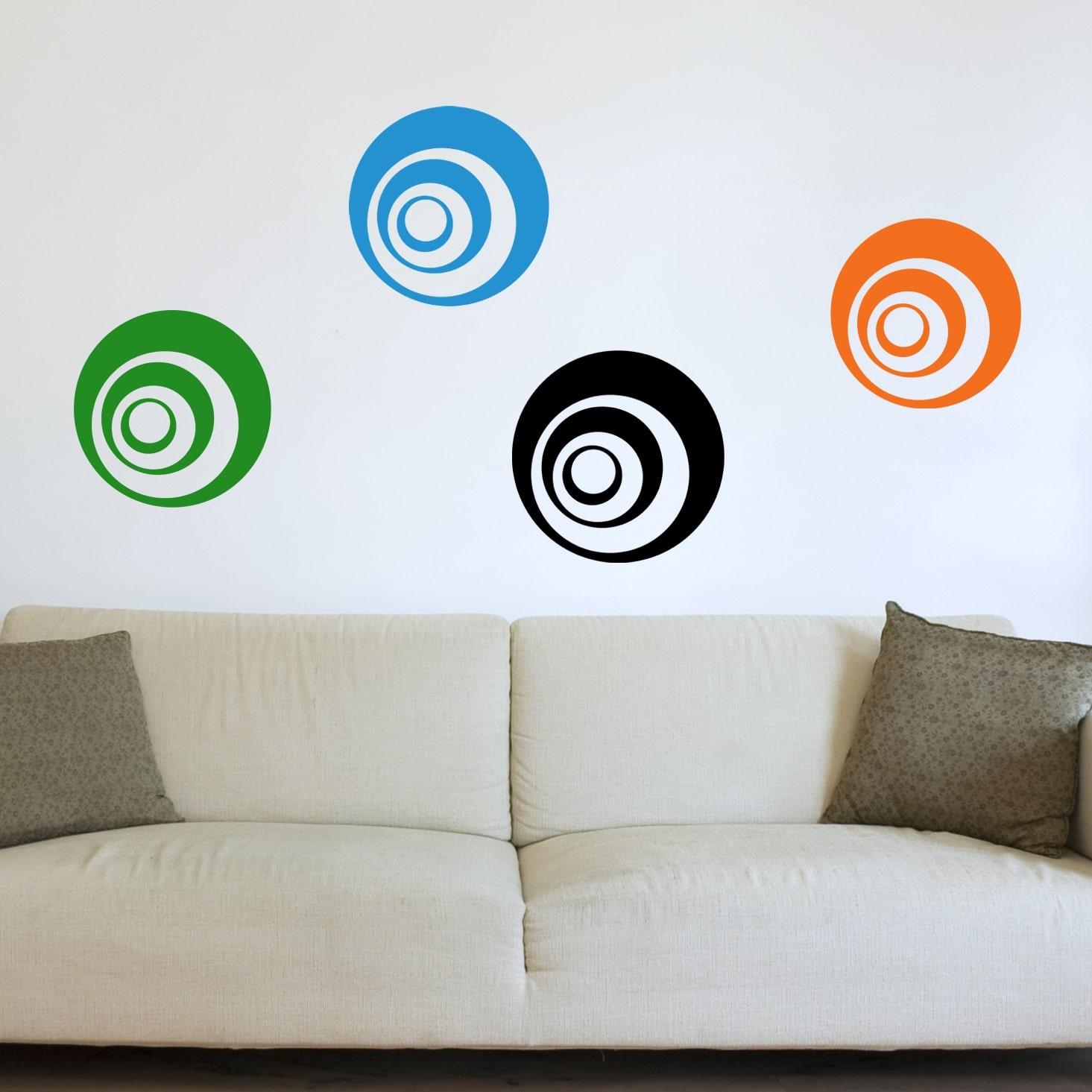 Billede af Wallsticker 6 Cirkler i 3 farver
