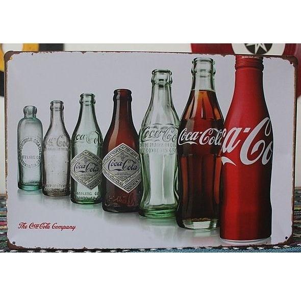 Image of   Emaljeskilt Coca Cola-flasker gennem tiderne