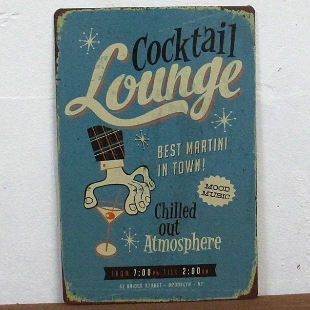 Image of   Emaljeskilt Cocktail lounge