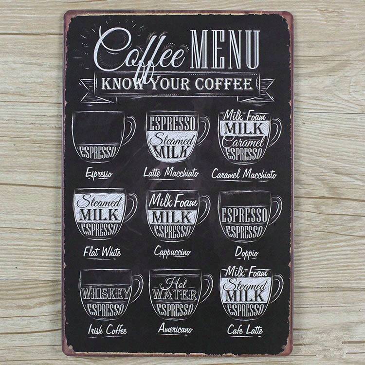 Image of   Emaljeskilt Coffee Menu - Know your Coffee