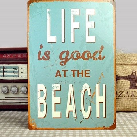 Emaljeskilt Life is good at the beach - NiceWall.dk
