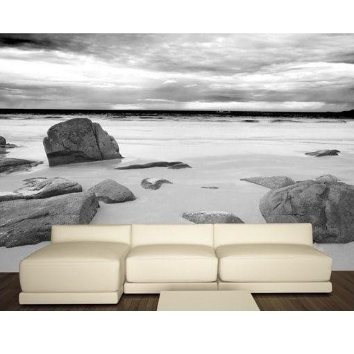 Strand med sten i sort/hvid - Foto tapet - Foto stat