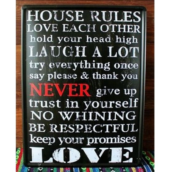 Emaljeskilt House rules - NiceWall.dk