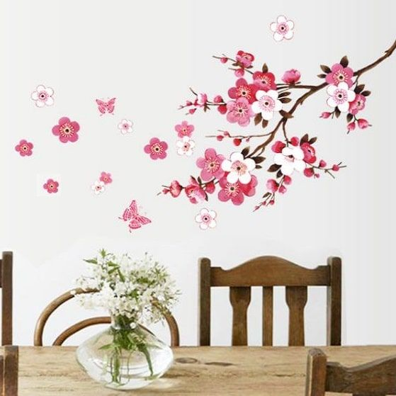 Rosa kirsebærsblomst - Wallsticker - NiceWall.dk