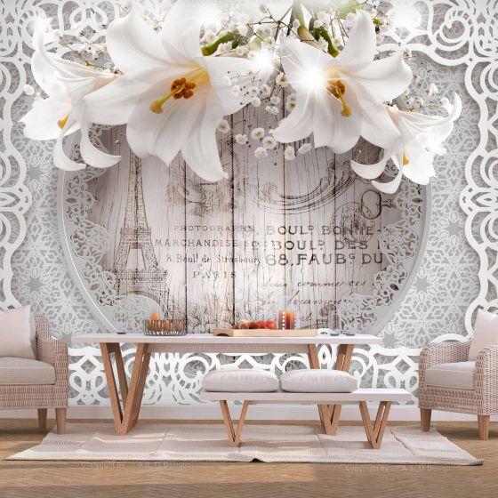 Lilies and Wooden Background fotostat - flot foto tapet til væggen