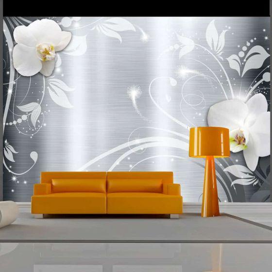 Orchids on steel fotostat - flot foto tapet til væggen