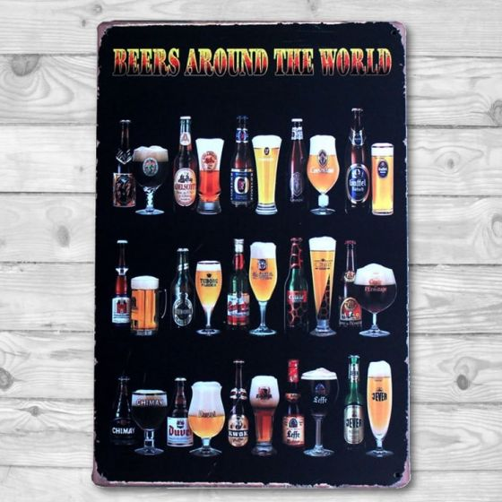 Beers around the World - Metal skilt. Flot blikskilt med tekst.