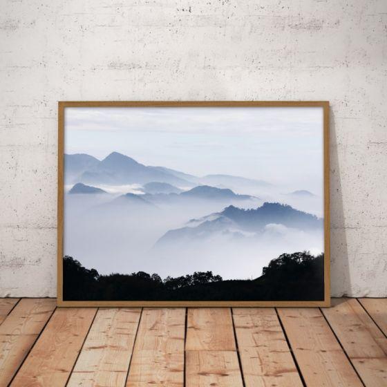 Bjerglandskab med himmel og skyer Plakat