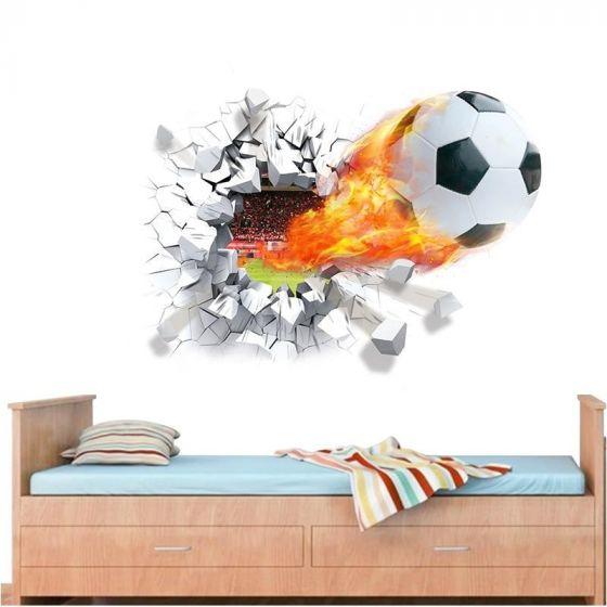 Fodbold i flammer wall sticker - Flot wallstick med bold - Klæbende vægdekoration