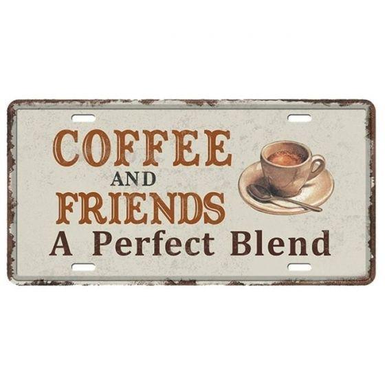 Coffee and Friends - Metal skilt. Flot retro blikskilt med tekst om kaffe og venner.