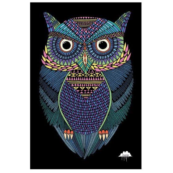 Den magiske ugle plakat - Flot kunstprint med en flot ugle