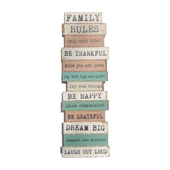 Family Rules Træskilt - Skilt af træ med familie regler - Stor vægdekoration