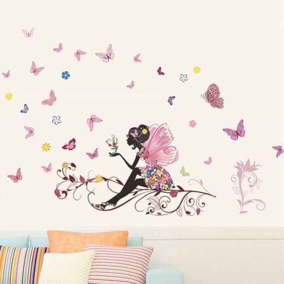 Stor fe med blomster og sommerfugle wall sticker. Flot vægklistermærke med pige