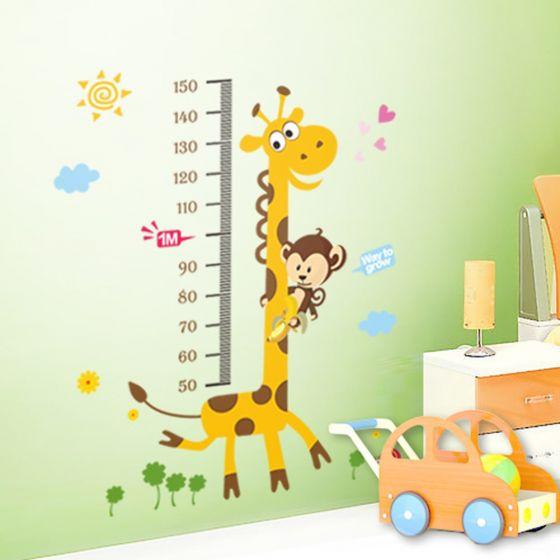 Giraf højdemåler - Wallsticker - NiceWall.dk