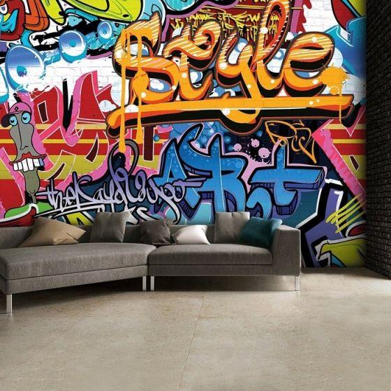 Graffiti Foto tapet - Flot fotostat med vægbillede med street art