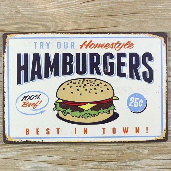 Emaljeskilt Hamburgers best in town - NiceWall.dk