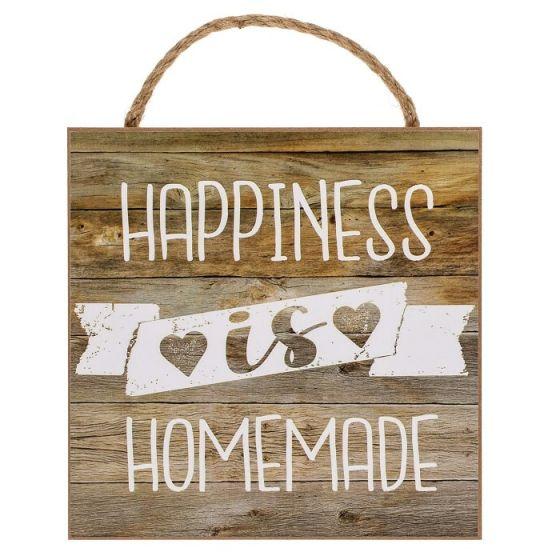 Happiness is Homemade træskilt - Flot skilt i træ med tekst - Vægdekoration til boligen