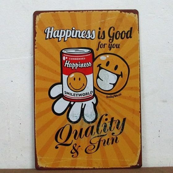 Emaljeskilt Happiness is good for you - NiceWall.dk