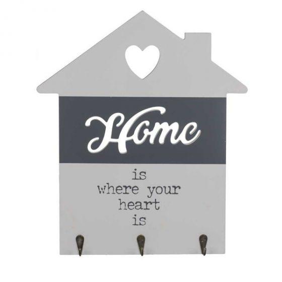 Home is where your heart is Træskilt - Flot skilt i træ med tekst - Nøglebræt til boligen