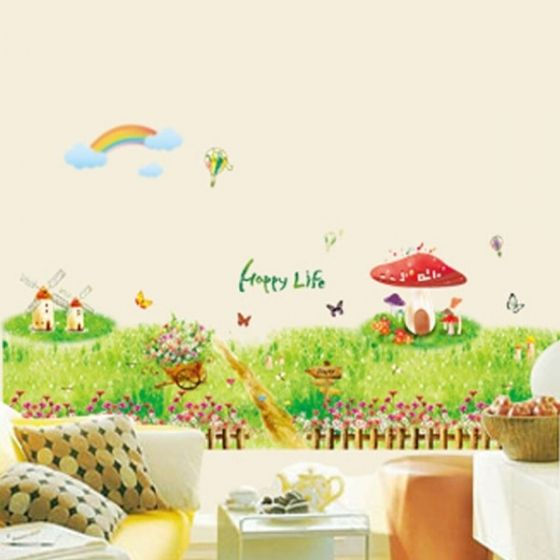 Hyggeligt landskab wall sticker. Flot vægklistermærke med græs og blomster.