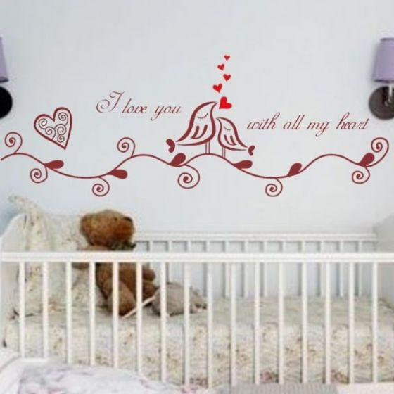 Wallsticker I love you with all my heart - NiceWall.dk