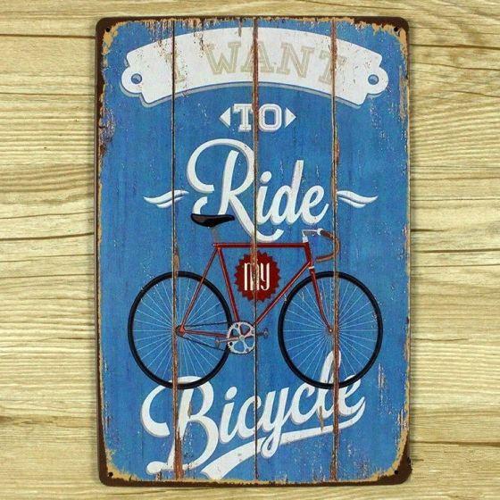 Emaljeskilt I want to ride my Bicycle - NiceWall.dk