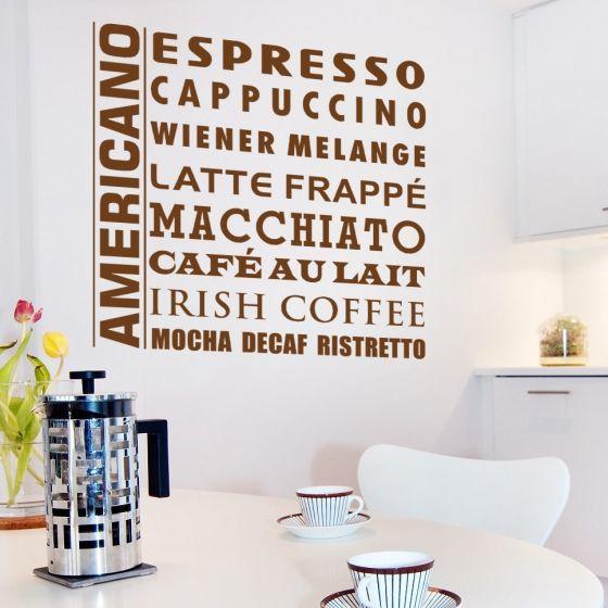 Wallsticker Kaffe på flere måder - NiceWall.dk