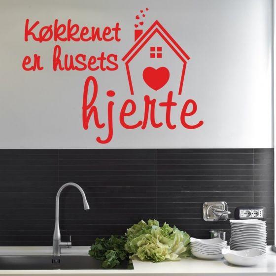 Wallsticker Køkkenet er husets hjerte - NiceWall.dk