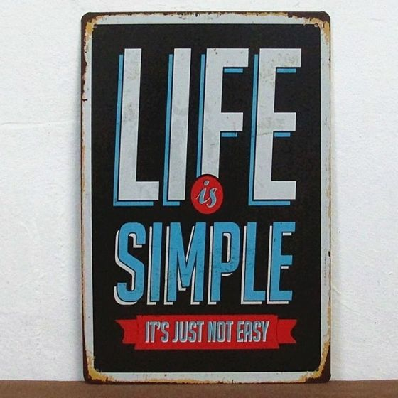 Emaljeskilt Life is simple - NiceWall.dk