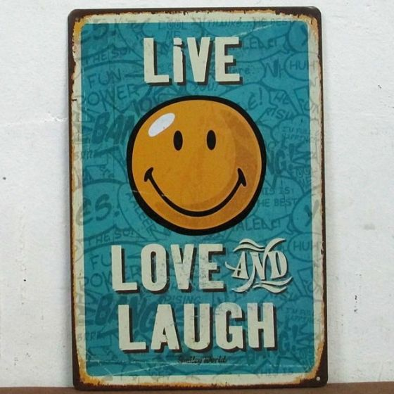 Emaljeskilt Live Love and Laugh - NiceWall.dk