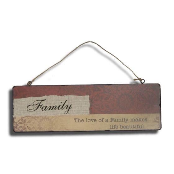 Family - The love of a Family... Træskilt - Flot skilt af træ - Vægdekoration med tekst