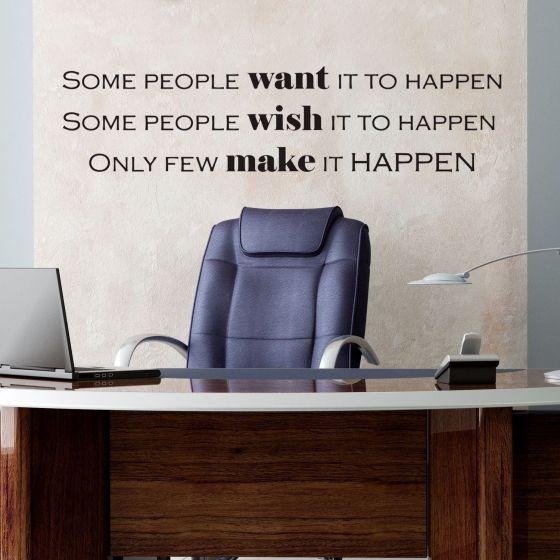 Wallsticker Want - Wish - Make it happen - NiceWall.dk
