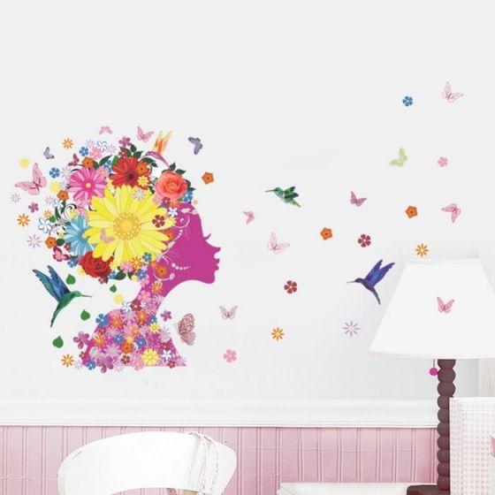 Pige med blomster wall sticker. Flot vægklistermærke med kvinde, fugle og blomster