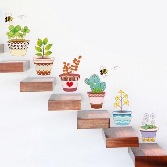 Potteplante wall sticker - Sød vægklistermærke med planter - Selvklæbende vægdekoration