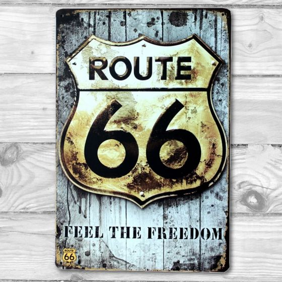 Route 66 Emalje skilt. Flot blikskilt med Route 66 Feel the Freedom