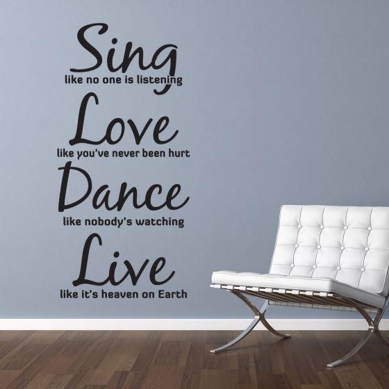 Sing - Love - Dance - Live - Wallsticker NiceWall.dk