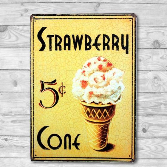 Strawberry Ice Cream Cone Emalje skilt. Flot blikskilt med is.