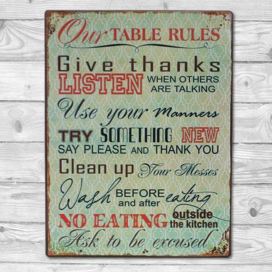 Table Rules - Metal skilt. Flot retro blikskilt med regler til køkkenet.
