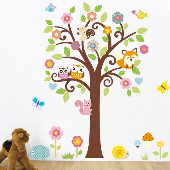 Træ med ræv og to ugler wall sticker. Flot vægklistermærke med træ og dyr.