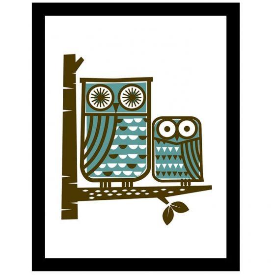 Ugler plakat - Flot kunstprint med minimalistiske ugler