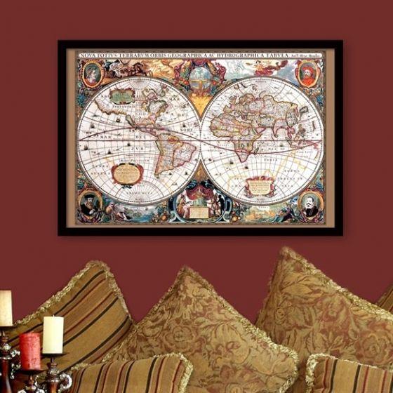 Plakat: Verdenskort fra 1630 - NiceWall.dk