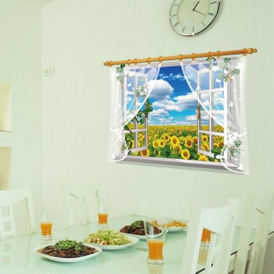 Solsikke wall sticker. Flot vægklistermærke med vindue til mark med solsikke blomster