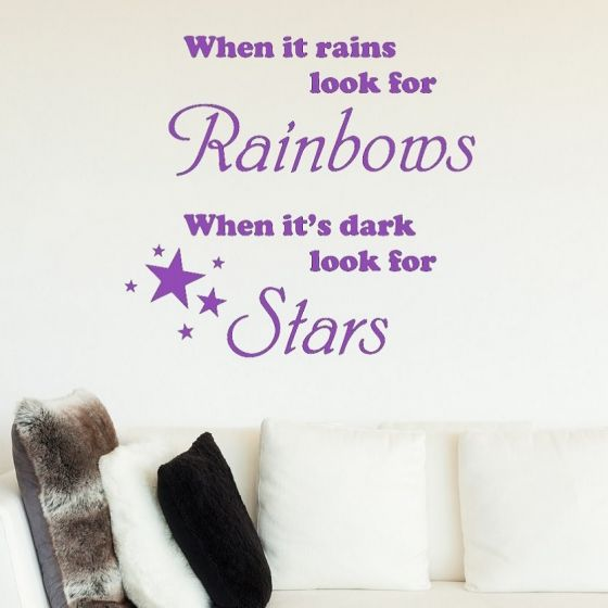 When it rains look for Rainbows Wallsticker - NiceWall.dk